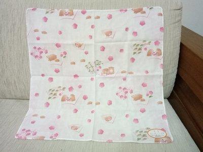 天使熊雜貨小舖~日本帶回亥年卡哇伊花花小豬手帕 純棉方巾   日本製  全新現貨