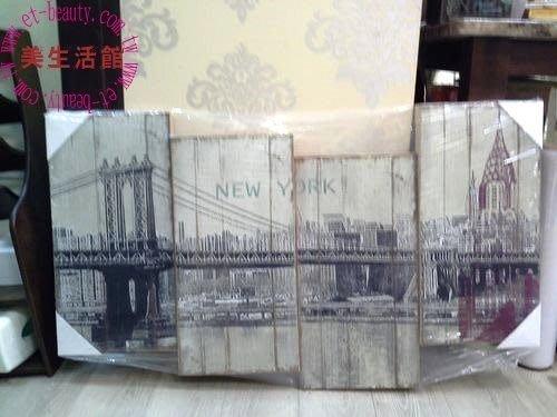 美生活館--全新 紐約大橋 街景不規則刷舊畫 100*60 無框掛畫--入宅店面商業空間皆宜