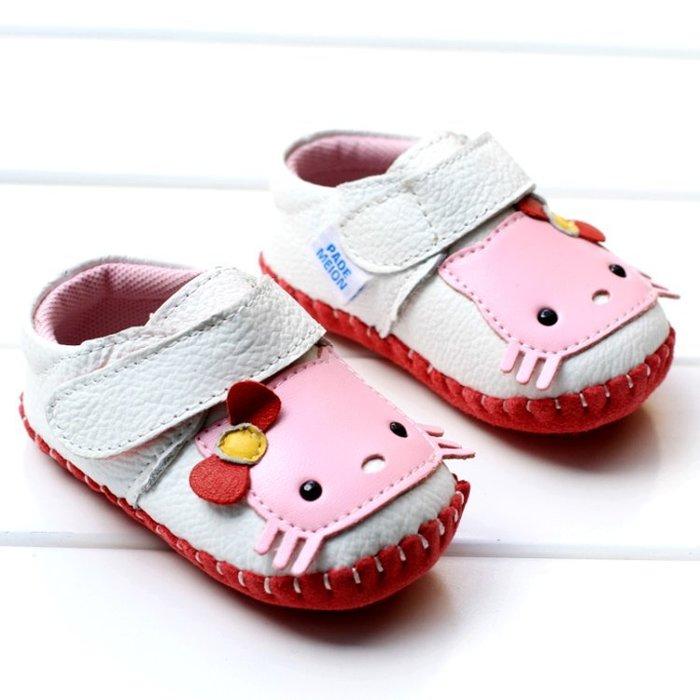 寶貝倉庫-可愛KT牛皮公主鞋-寶寶鞋-娃娃鞋-嬰兒鞋-學走鞋-真皮磨砂底-童鞋-粘扣設計-彌月送禮-坐學步車穿