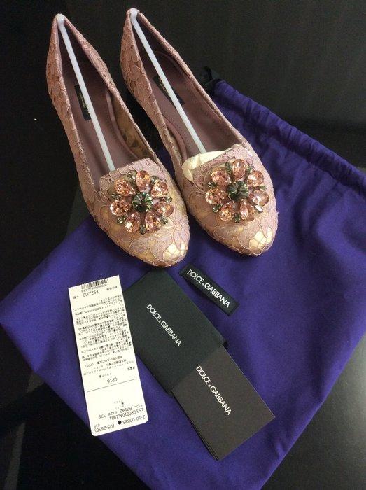 *Beauty*D&G DOLCE&GABBANA紫色蕾絲平底鞋37.5號 WE17 原價24500元