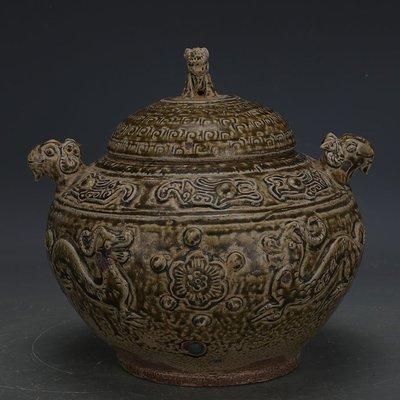 ㊣姥姥的寶藏㊣ 西周越窯青釉手工堆雕神獸羊頭蓋罐  出土文物古瓷器古玩古董收藏