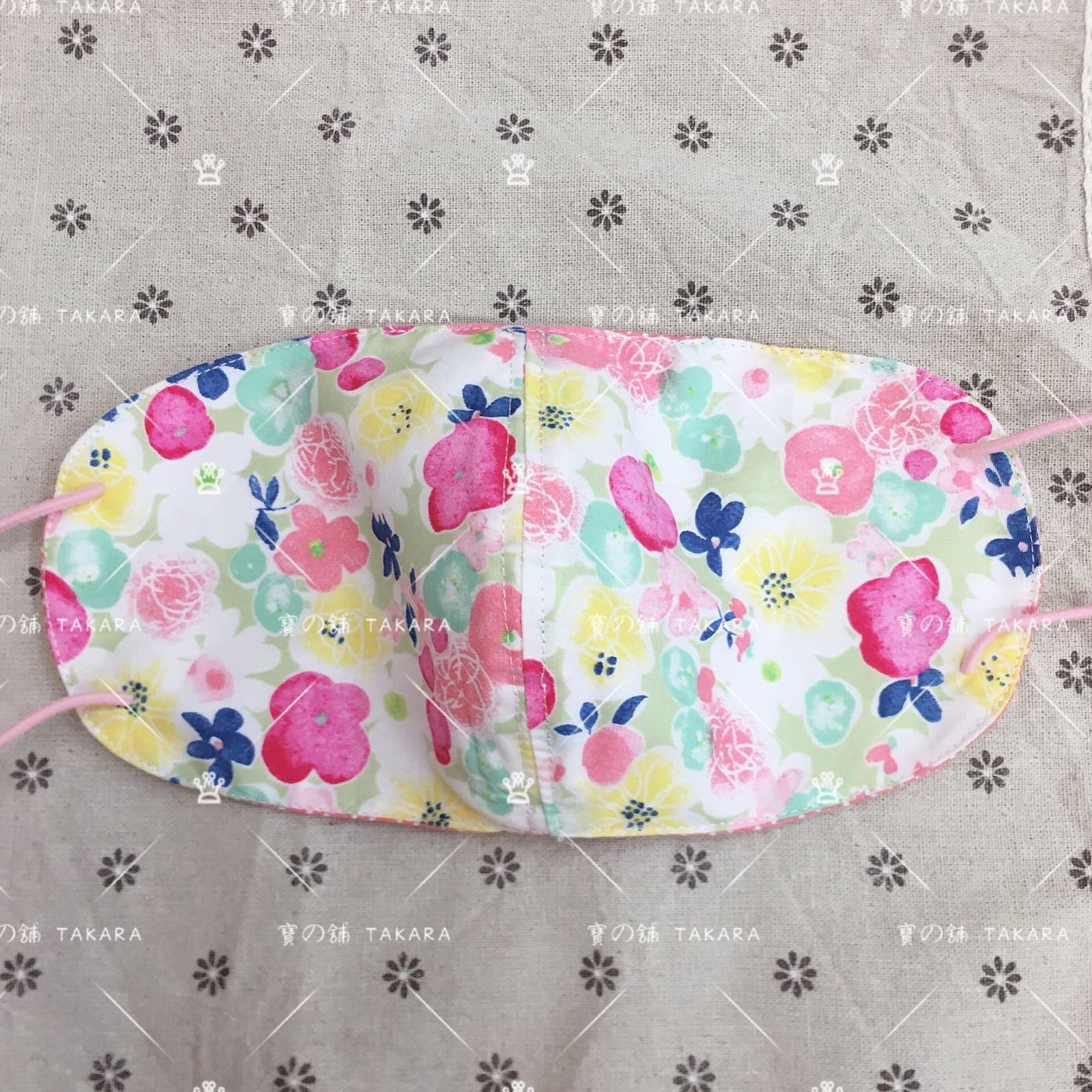 現貨 日本面料 純棉手工 口罩 立體感 1號 夏天薄透布 水彩花卉