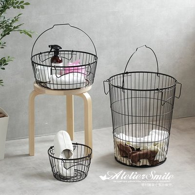 [ Atelier Smile ] 鄉村雜貨 日本  鐵製 可堆疊收納籃 層架 置物架 鐵籃 # 高圓L  (現+預)