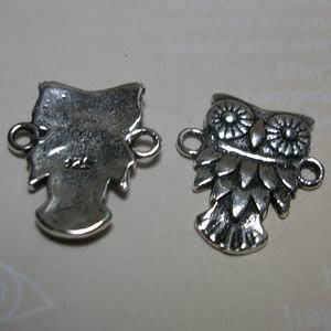 琥珀貓~【925純銀材料配件】連結配件~N9941~貓頭鷹~聰明~一個