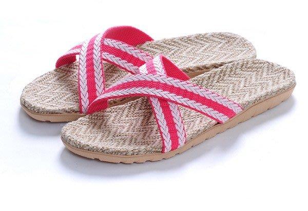 ,就愛夾腳拖!天然亞麻竹炭室內室外拖鞋,吸汗透氣 - 女款,X粉白,35 36-37 38