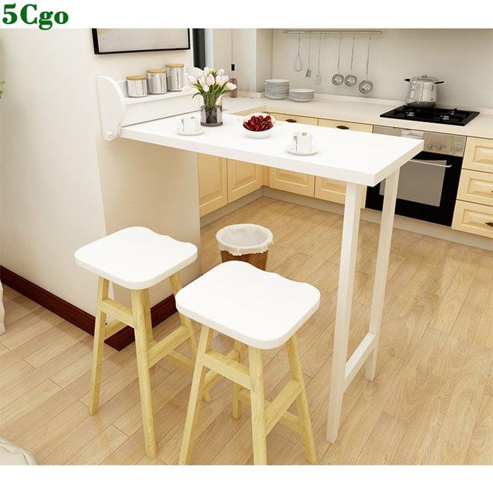 5Cgo【宅神】簡約居家家用實木折疊餐桌子隔斷櫃壁掛靠牆酒吧台桌椅折疊桌省空間可折疊吧臺桌 561771204641