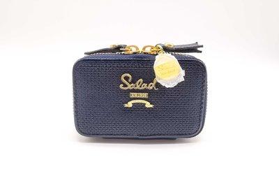 私家收藏Salad香港正品頭層牛皮十字紋真皮時尚精美拉鍊女鑰匙包交通卡包