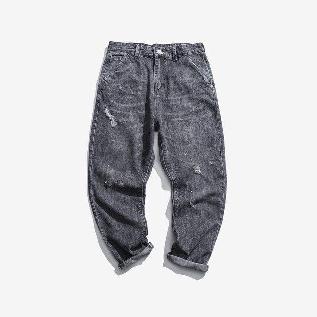 FINDSENSE 2019 秋季上新 牛仔褲 G7 噴馬流黑色牛仔褲 男褲 長褲