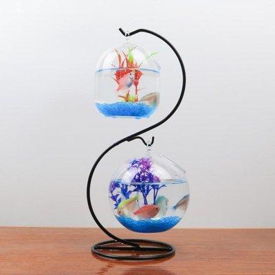創意家居裝飾懸掛辦公桌面斗魚缸擺件透明玻璃小型圓形金魚缸GLSJ515