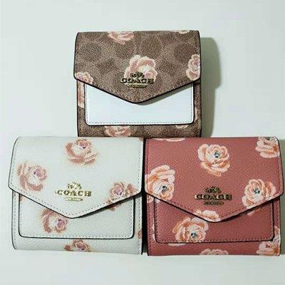 琳精品@COACH 31817 31822 新款女士山茶花印花三折翻蓋錢包 後置拉鏈零錢包