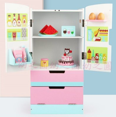 實木製仿真彩色大冰箱~雙門四層豪華版~仿真家家酒玩具~幼之圓