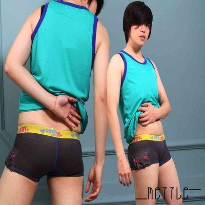 METTLE 雙口袋牛仔平口內褲 單件299元 帥氣無法檔 平口褲double 束胸中性女拉拉-7728G