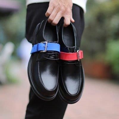 皮鞋 真皮休閒撞色橫帶圓頭鞋-歐美時尚百搭厚底男鞋2色73kv29[獨家進口][米蘭精品]