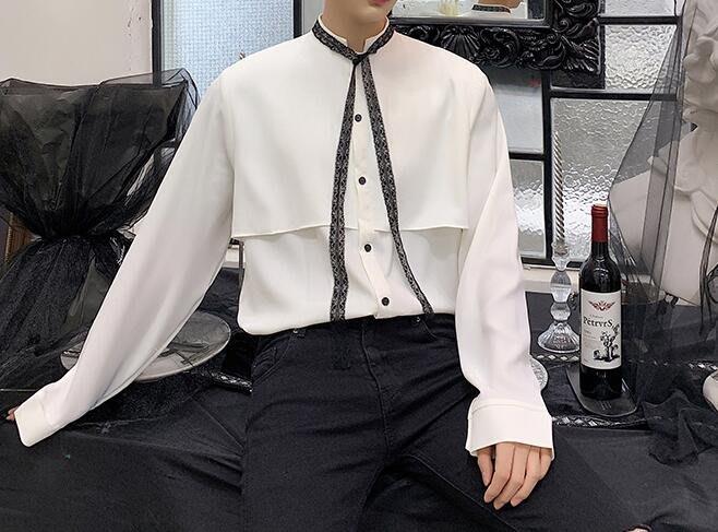 FINDSENSE 品牌 2019 春季 新款 寬鬆  潮流  個性 社會 男青年長袖 小領結  免燙 襯衫 復古 氣質