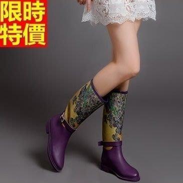 長筒雨靴子 雨具-精美彩繪歐美潮流女雨鞋子2色66ak48[獨家進口][米蘭精品]