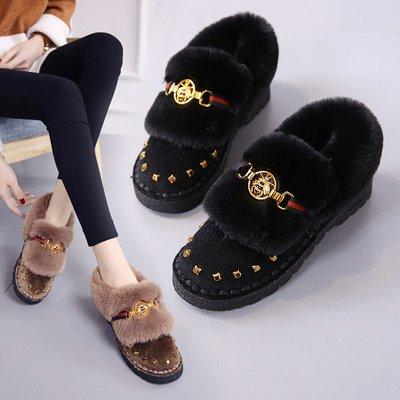 雪地靴 加絨 加厚 短靴 保暖雪地靴女短筒新款韓版百搭學生平底棉鞋冬季保暖加絨加厚短靴