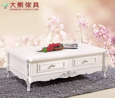 【大熊傢俱】806  玫瑰系列 歐式茶几 儲物桌 長方桌 桌子 矮桌 法式 長方几
