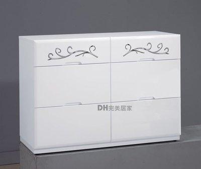 【DH】貨號N511-4《莎莉》白色造型烤漆圖騰六斗櫃˙質感一流˙精品設計˙主要地區免運