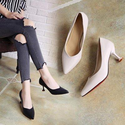 高跟鞋女細跟貓跟鞋女新款工作鞋韓版百搭尖頭瓢鞋春季單鞋女