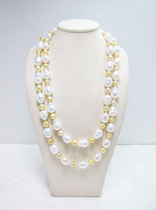 日本設計6-10mm雙色南洋珍珠長項鍊【元圓珠寶】