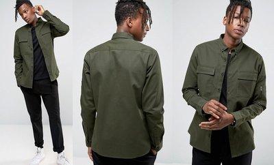 ◎美國代買◎ASOS有蓋雙口袋裝飾帥氣軍裝風格軍綠色長袖襯衫上衣~歐美街風~大尺碼