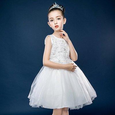 【衣Qbaby】Mi兒童禮服女童白色禮服花童畢業典禮鋼琴演奏公主裙