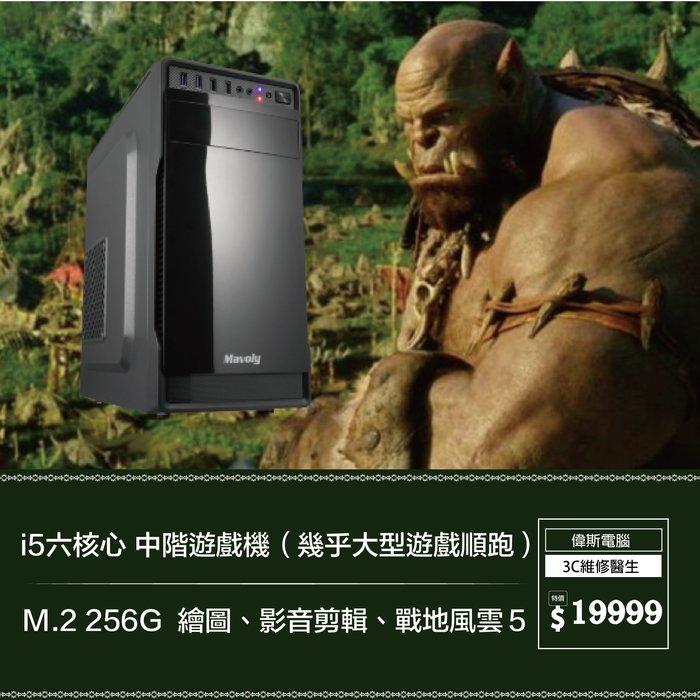 【偉斯電腦】i5六核心 中階遊戲機(幾乎大型遊戲順跑)M.2 256G  繪圖、影音剪輯、戰地風雲5