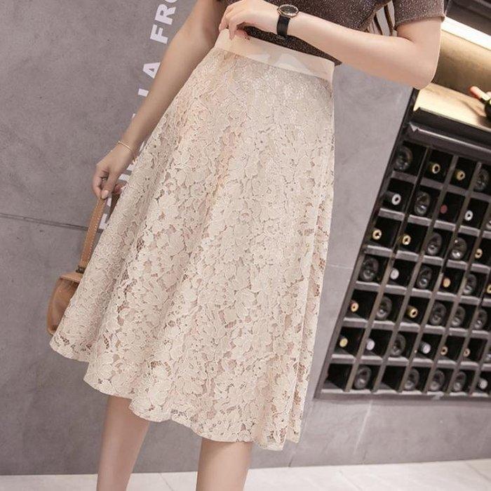 新品上市-蕾絲半身裙女2020春夏韓版百搭修身A字中裙高腰修身顯瘦時尚 KV7190-柳風向
