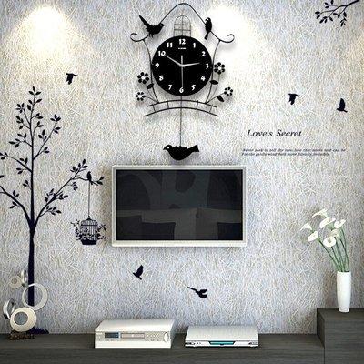 掛鐘北歐夜光鐘表掛鐘客廳創意小鳥個性現代裝飾掛表藝術搖擺石英時鐘   全館免運