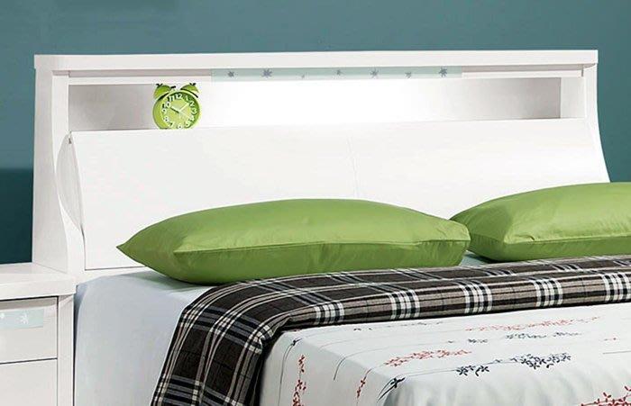 【DH】商品編號vc201-3商品名稱楓林白色五尺床頭箱(圖一)附開關式LED燈。備有白雪杉/六尺另計。主要地區免運費