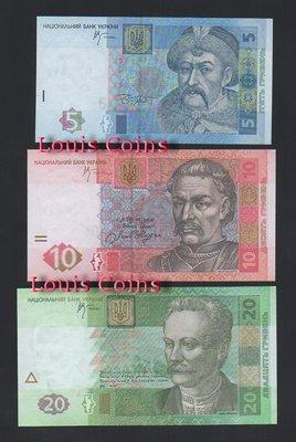 【Louis Coins】B514-UKRAINE--烏克蘭紙幣(五張1套)