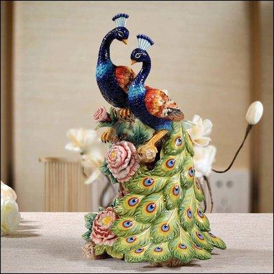 歐式古典風 陶瓷雙孔雀擺飾品 手工彩繪孔雀開屏平安 藝術品擺件大器客廳裝飾品居家布置裝飾品送禮品入厝開店【歐舍傢居】