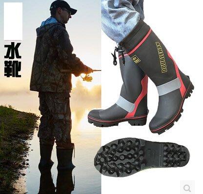 男士雨靴高筒防滑釘底水鞋橡膠套鞋夏季單款釣魚水鞋時尚膠鞋