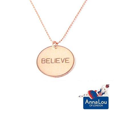 Anna Lou OF LONDON 倫敦品牌 優雅字墜 玫瑰金項鍊 Believe