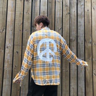 【inSAne】Korea Select / 法蘭絨襯衫 / 反戰標誌 / 深藍 & 黃