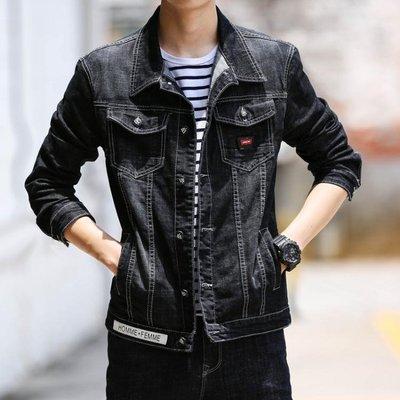 單寧牛仔外套 男 春秋季外套正韓彈力修身休閒黑色夾克上衣服潮流-小精靈