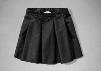 【全新正品】Abercrombie Kids AF skater skirt 仿皮黑色短裙~XL~大人可