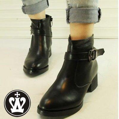 =WHITY=韓國GRAMMI品牌 韓國製  FF正品短靴明星必備顯瘦中跟美麗炫頭 高級精品 自留S4HW623