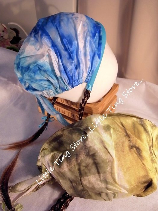 歐美樣品出清 跨年化妝舞會造型頭飾 一元起標(2個)芭比暈染頭巾假髮辮子髮圈髮箍三角巾含假髮挑染辮子花童舞蹈配件