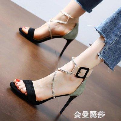 高跟涼鞋 歐美拼色時裝鞋時尚露趾交叉一字搭扣涼鞋HM 金曼麗莎
