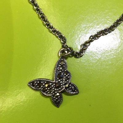 Anna Sui全新限量正品黑色水鑽蝴蝶墜飾二段式可調式925純銀項鍊安娜蘇