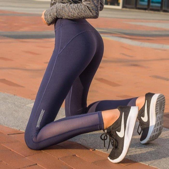 瑜伽褲提臀高腰瑜伽褲女網紗彈力緊身顯瘦運動褲速干透氣跑步健身褲夏季