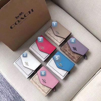 NaNa代購 美國正品 COACH 31548 短夾 老花花紋 頭層牛皮 禮品盒包裝 附購證 買即送禮