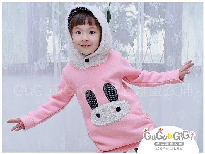 【RG2121708】秋冬款~點點長耳兔下擺抽繩粉色長上衣$99
