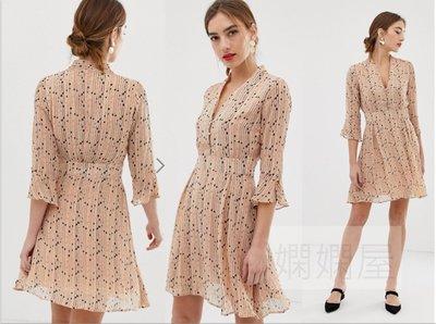(嫻嫻屋) 英國ASOS-Y.A.S 優雅時尚名Spotted線條氣球七分袖高腰裙洋裝 現貨UK14