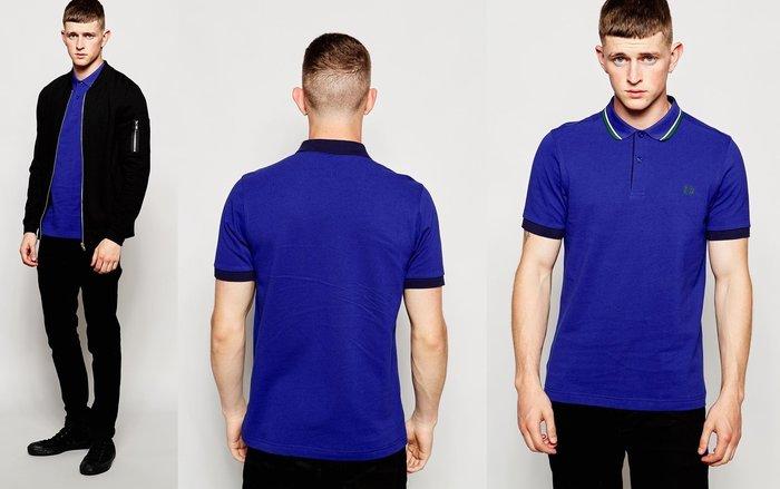 ◎美國代買◎ASOS代買Fred Perry特別色塊與線條裝飾領口與袖口的藍色polo shirt~英倫潮牌街風~大尺碼