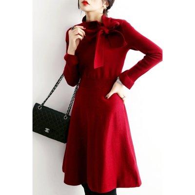 秋冬 法式優雅!領口蝴蝶結綁帶 修身顯瘦針織洋裝 連身裙 [Classique*真經典] 101402 h