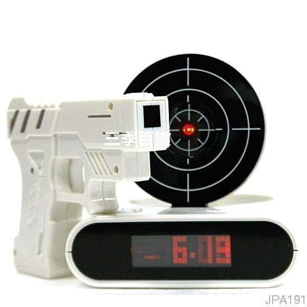 三季開槍射擊鬧鐘 射擊鬧鐘JPA191 打靶鬧鐘 手槍鬧鐘 創意懶人鬧鐘 貪睡殺手電子鬧鐘❖641