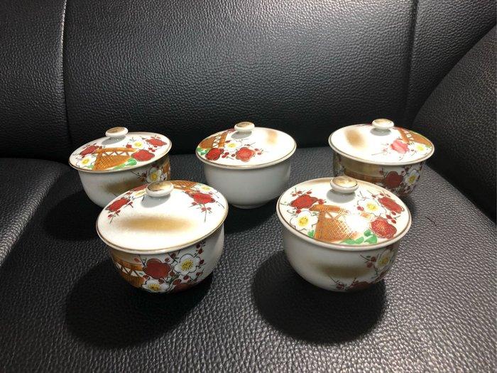 早期 日本 九谷手繪茶蓋杯組