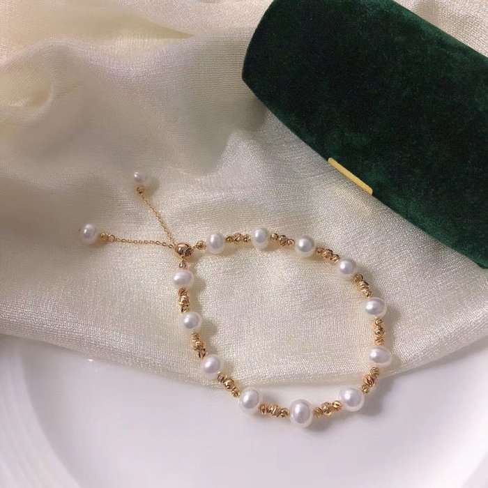 (輕舞飛揚)滿天星手鍊7-8MM近圓,天然高品質淡水珍珠,14k注金新款可調節,人見人愛